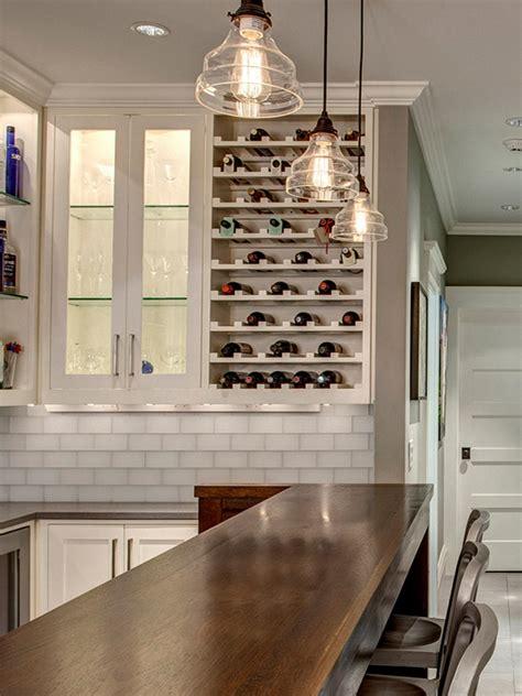 stylish transitional basement bar  built  wine