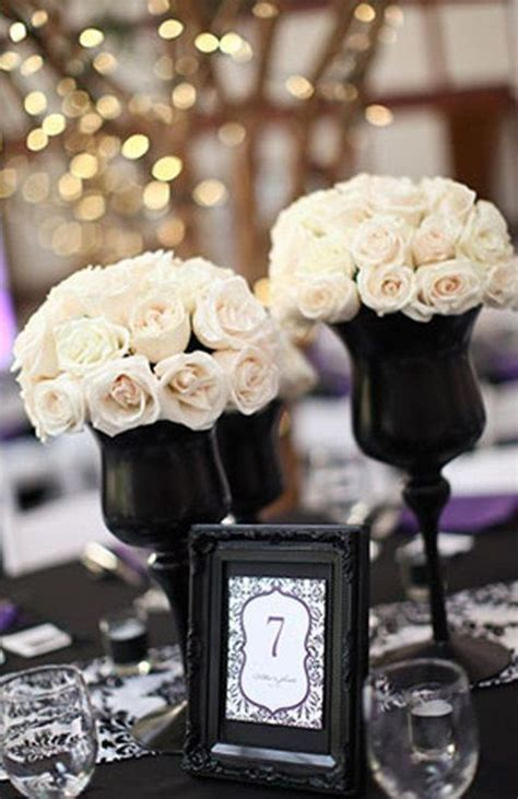 black and white table arrangements 46 cool black and white wedding centerpieces via happywedd
