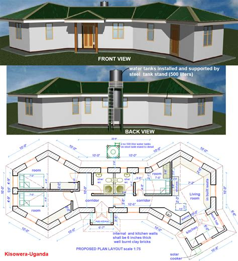 Cluster Home Floor Plans Earthbag Construction In Uganda