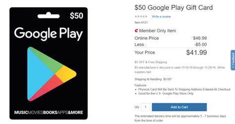 Google Play Store Gift Card 5 - deal alert costco members can get a 50 play store gift card for just 41 99 5 off