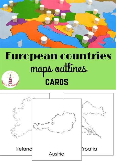 montessori printable templates all european countries maps outlines montessori cards