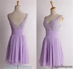 You can share these short light purple bridesmaid dresses on facebook