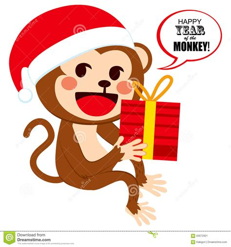 monkey santa santa monkey stock vector image 63072921