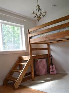 Diy Platform Bed With Steps White C Loft Bed With Stair Junior Height Diy