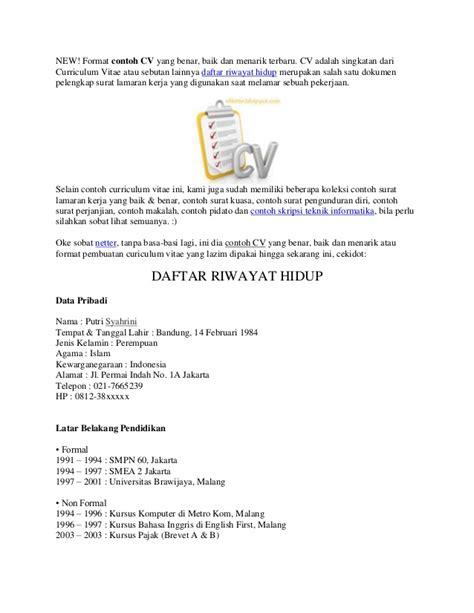 format daftar riwayat hidup calon kepala sekolah new