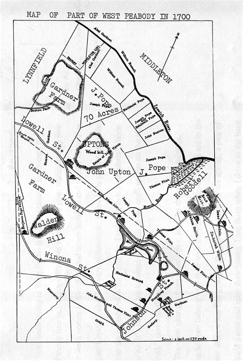 Giles Corey Farm Area--Part of West Peabody, MA in 1700 Giles