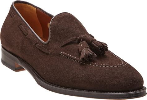 suede tassel loafers battistoni suede tassel loafer in brown for chocolate