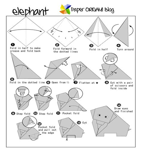Origami Zoo Animals - origami elephant paper origami guide