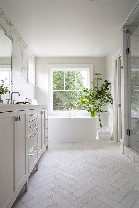 White Tile Bathroom Floor by White Shiplap Bathroom With Gray Slate Herringbone Floor