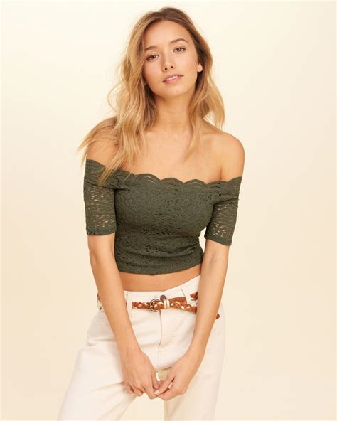 Lace Shoulder Top Hollister lyst hollister the shoulder lace crop top in green