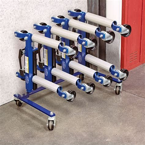 Set Dolly eastwood hydraulic wheel dolly 4 set and storage rack