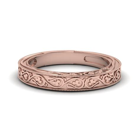 engraved filigree vintage wedding band   rose gold