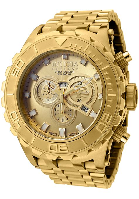 invicta subaqua chrono gold plated steel gold