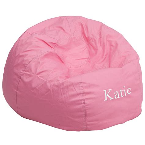 monogrammed bean bag chairs personalized oversized solid light pink bean bag chair dg