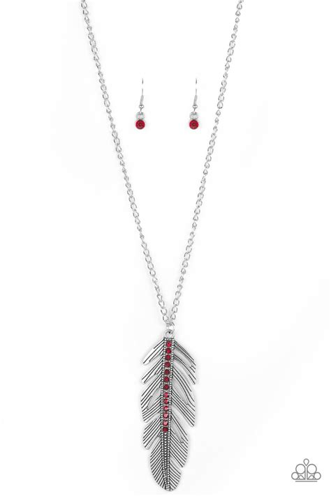 """Paparazzi """"Sky Quest"""" Red Rhinestone Silver Feather"""