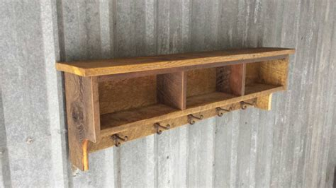 rustic reclaimed barnwood shelf cubby coat rack by