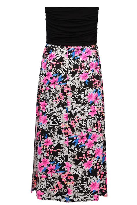2 Die 4 Single Printed Jersey Strapless Dress by Black And Multi Neon Floral Print Strapless Jersey Maxi