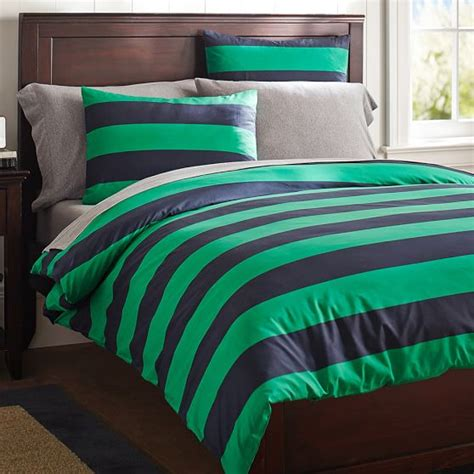rugby stripe bedding rugby stripe duvet cover sham navy bright green pbteen