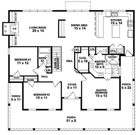 3 bedroom 2 bath floor plans 654173 one story 3 bedroom 2 bath country style house
