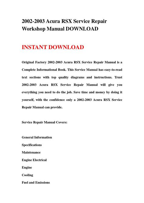 2002 2003 acura rsx service repair workshop manual download by jnshemfne issuu