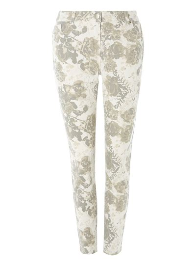 grey patterned skinny jeans womens grey skinny floral patterned jeans tu clothing