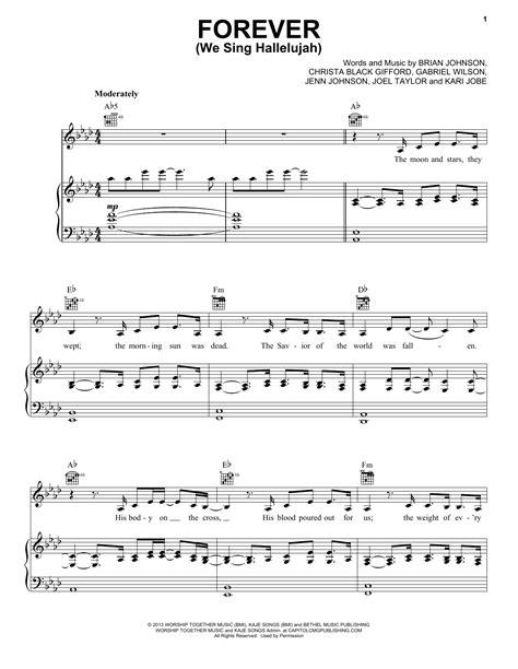 printable lyrics to forever by kari jobe forever we sing hallelujah sheet music direct