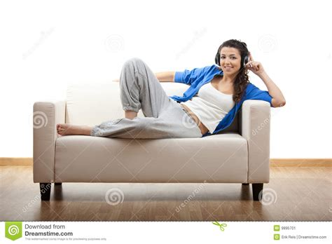 couch call happy phone call stock image image 9895701