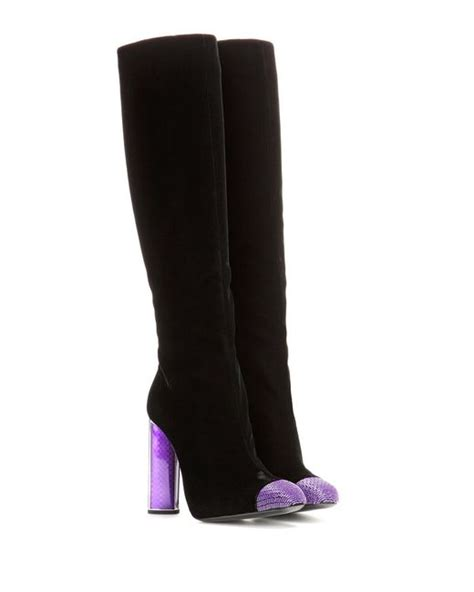 tom ford embellished velvet knee high boots in black lyst