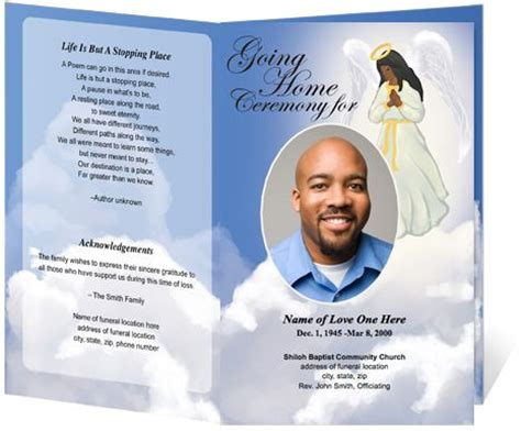 funeral program card template free template240 webimages funerals shops