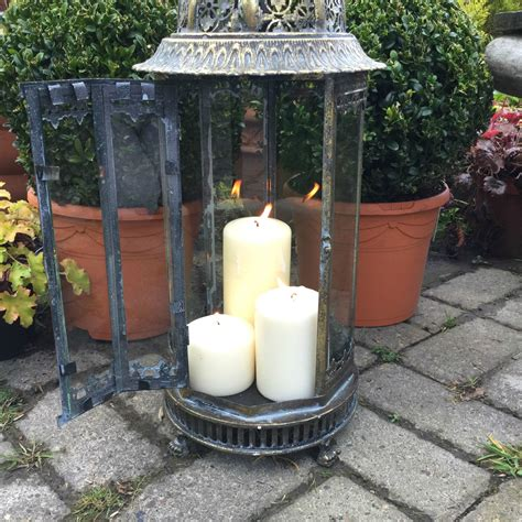 Garden Candle Lanterns Large Metal Garden Lantern Candle Holder Antique