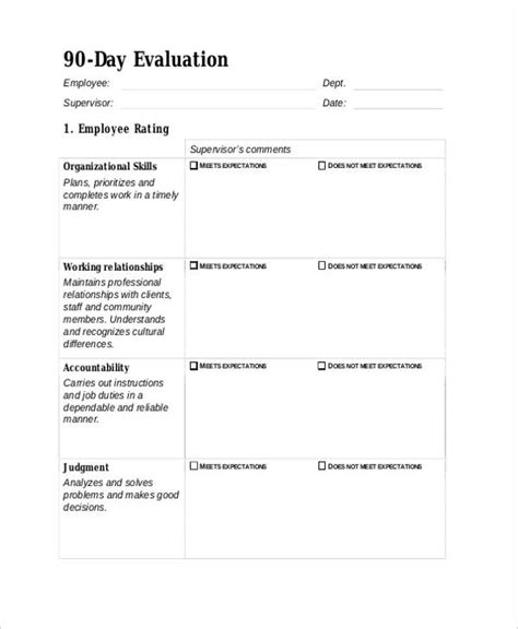 25 Free Employee Evaluation Forms 90 Day Review Template