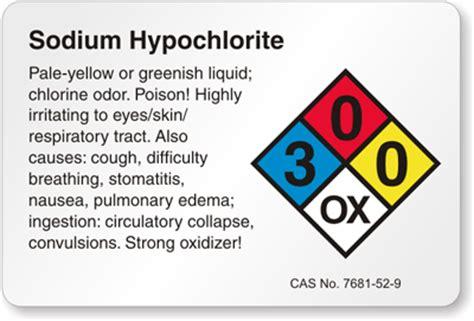 sodium hypochlorite labels