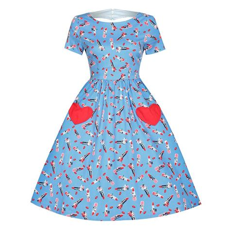 8 Advantages Of Vintage Style by Blue Lipstick Print Loveheart Swing Dress