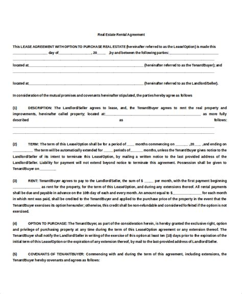 property rental agreement 9 free word pdf documents