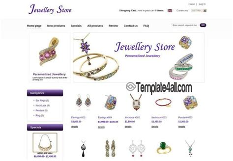 purple jewelry store zencart template download