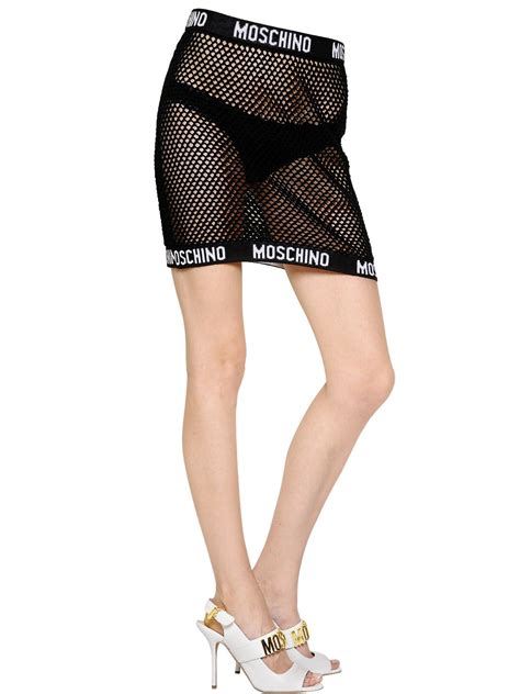 lyst moschino cotton fishnet mini skirt in black