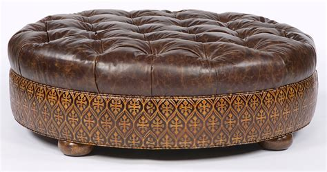 round leather ottoman tufted large round tufted leather ottoman american furniture