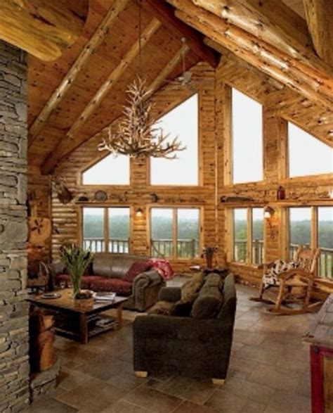 log home interiors love the big windows and high ceilings cabin s i love