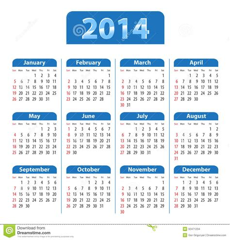Calendã E Feriados 2014 Azul Do Calend 225 2014 Ilustra 231 227 O Do Vetor Imagem De