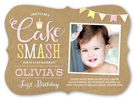 invitation cards for 1st birthday cake smash birthday invitation shutterfly