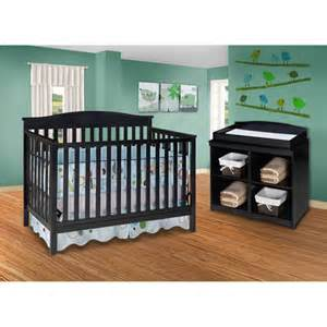Delta Crib And Changing Table Delta Bailey 4 In 1 Fixed Side Crib And Changing Table Combo Black Walmart