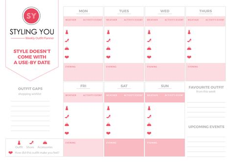 Plan Your Wardrobe by Take The Stress Out Of Getting Dressed With Our Free Planner