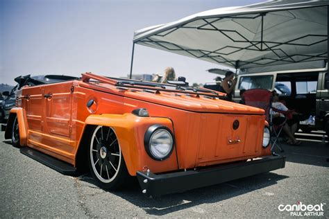 volkswagen thing in water beautifully slammed orange vw thing rides