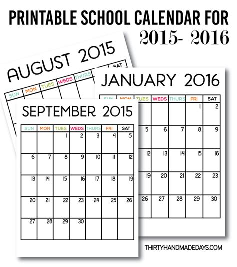 2015 Summer Calendar 2016 Free Printable Calendars Crafting In The