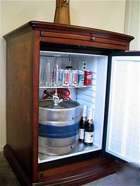 kegerator beverage bar fridge cooler wood cabinet