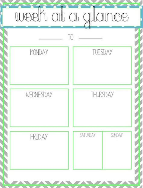 week at a glance lesson plan template week at a glance printable office ideas
