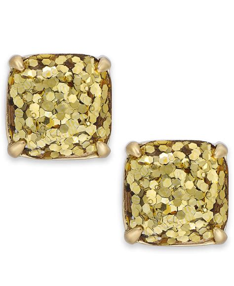 kate spade gold tone small square stud earrings in