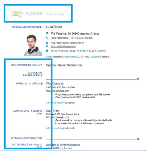 modello europass 2016 da scaricare curriculum vitae modello europeo 2016