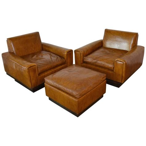 cognac leather ottoman mid century french cognac leather club chairs and ottoman