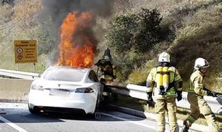 Tesla Model S Fires Tesla Model S Electric Car Catches After Crashing